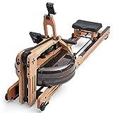 SportPlus Wasser-Rudergerät für zuhause aus Natur-Massivholz (Eiche), mit Trainingscomputer (inkl....