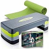 Body & Mind® Aerobic Steppbrett Elite 3-Stufen Stepper Step-Bench mit gratis Anti-Rutsch-Matte &...
