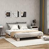Merax Wood Massivholzbett,Holzbettrahmen mit Stützbeinen, Massivfichtenholzbett für Schlafzimmer,...